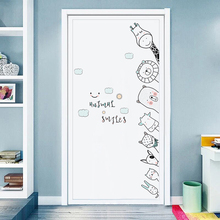Cute Cartoon Animals Wall Stickers Door Stickers for Kids Room Bedroom Hand Drawn Wall Decals Baby Nursery Room Decoration tanie tanio BRUP CN (pochodzenie) Naklejka ścienna samolot Nowoczesne Do lodówki Do płytek Na ścianie Meble Naklejki Panel przełącznika Naklejki
