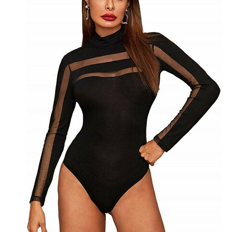 Mesh Bodysuit Women Ladies Sexy Long Sleeve Sheer Patchwork Bodycon Bodysuit Jumper   Romper   Leotards Tops Spring Female Clothing