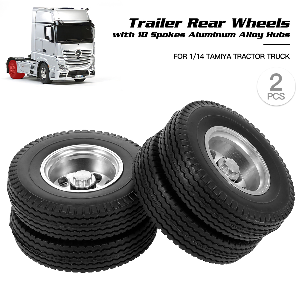 2pcs RC Trailer Front Rear Wheels Tire Tyre With 10 Spokes Aluminum Alloy Hubs For 1/14 Tamiya Tractor Truck RC Climber Trailer