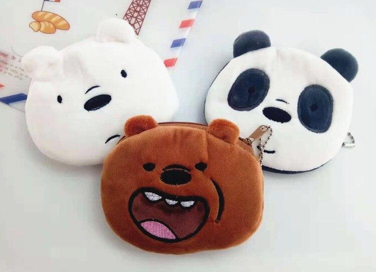 Cute Bare Bear Plush Coin Purse Three Bears Brown Bear Polar Bear Panda Plush Coin Bag Cute Cartoon Bag