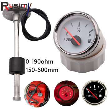 Stainless Steel Marine Fuel Level Gauge Sensors 150-600mm fit Boat Car Fuel Level Gauge Meter 0-190ohm with Red Backlight 9-32V image