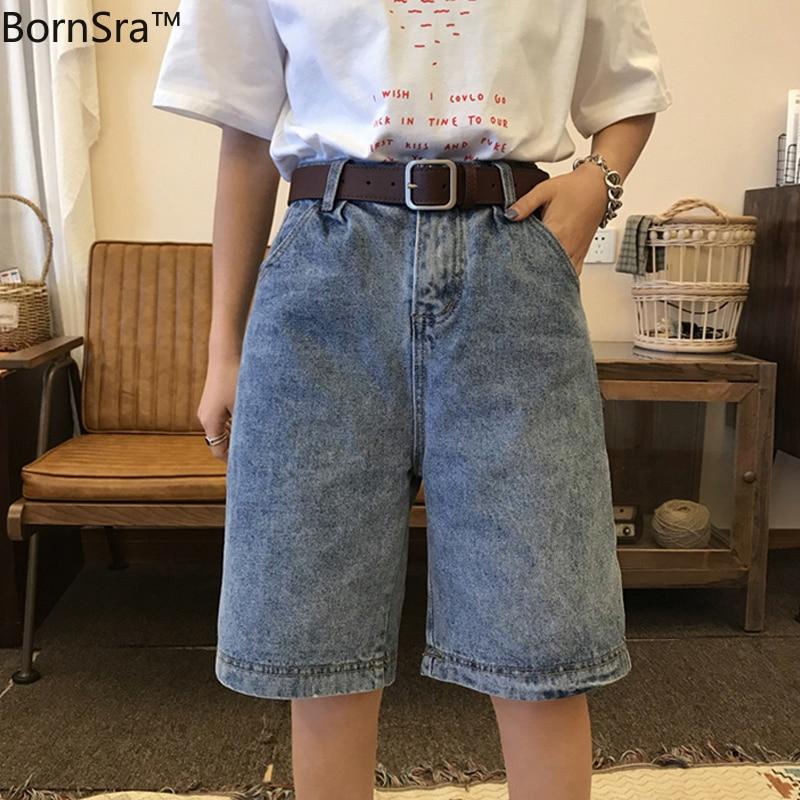 BornSra Vintage Short Denim Jeans Women Korean Knee Length Summer Short Jeans High Waist Loose Wide Leg Pants Streetwear