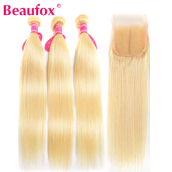 Beaufox 613 Blonde Bundles With Closure Brazilian Hair Weave Bundles With Closure Straight Human Hair Bundles With Closure Remy