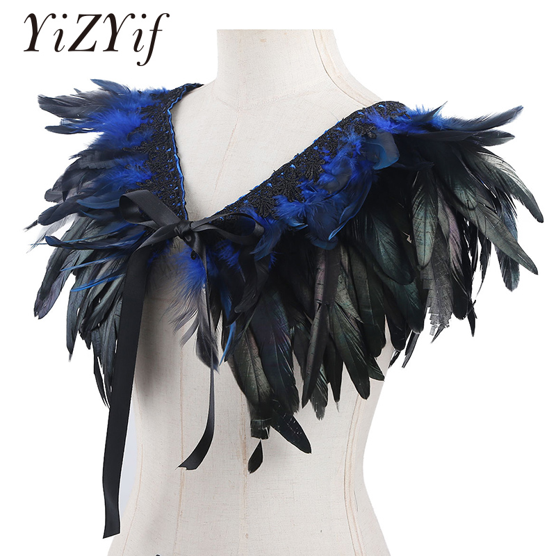Feather Cape Shawl Fake Collar Gothic Real Natural Feather Shrug Shawl Shoulder Wrap Cape With Ribbon Ties Costume Decoration