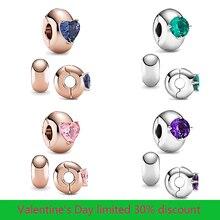 2021 nuove perle in argento Sterling 925 4 colori cuore rotondo solitario Clip Charms misura originale Pandora braccialetto donne gioielli fai da te