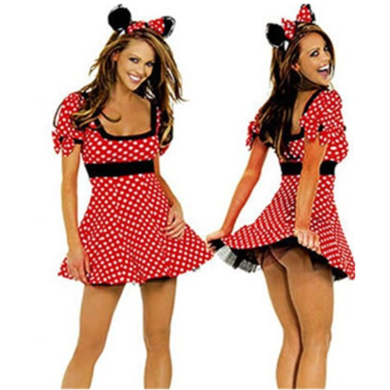 Sexy Red Minnie Mouse Dress Adult Halloween Costumes For Women Minnie Mouse Costume Cosplay Sexy Fantasy Women Wholesale