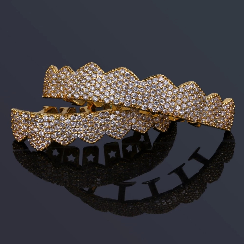 TOPGRILLZ Fit Gold Silver Color Iced Out Hip Hop Teeth Grillz Micro Pave Cubic Zircon Top & Bottom Teeth Grills Set