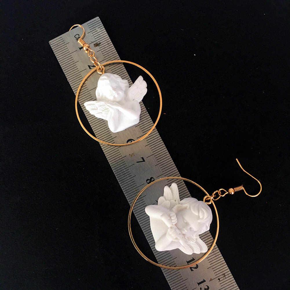 חדש Harajuku חמוד קופידון מלאך תליון טיפת עגיל עגול זהב מתכת פאנק שרשרת תכשיטי עבור מגניב נשים ידידות ילדה מתנות
