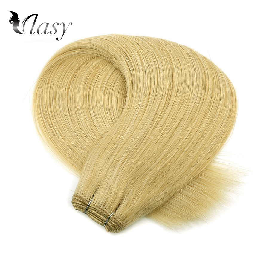 Vlasy Double Drawn Natural European Straight Hair Weave Bundles 20 Inch Pure Color Remy Hair Weft Extensions 100g/pc