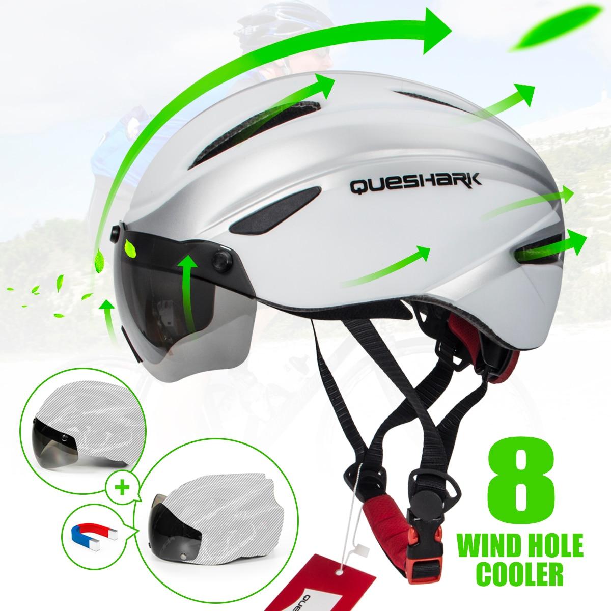 QUESHARK Bicycle Helmet Riding Caps Road MTB Cycling Helmet With Goggles Night
