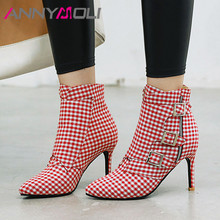 ANNYMOLI Winter Ankle Boots Women Gingham Buckle Thin Heels Short Zip Extreme High Heel Shoes Ladies Fall Size 33-46