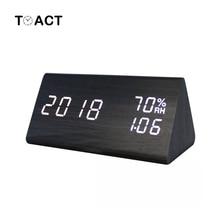 LED ไม้นาฬิกาปลุก Despertador อุณหภูมิความชื้นอิเล็กทรอนิกส์เดสก์ท็อปตารางดิจิตอลนาฬิกาห้องนอนนาฬิกาปลุก Home Decor