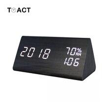 LED budzik drewniany Despertador temperatura wilgotność elektroniczny pulpit tablica cyfrowa zegary sypialnia budzik zegar do dekoracji domu