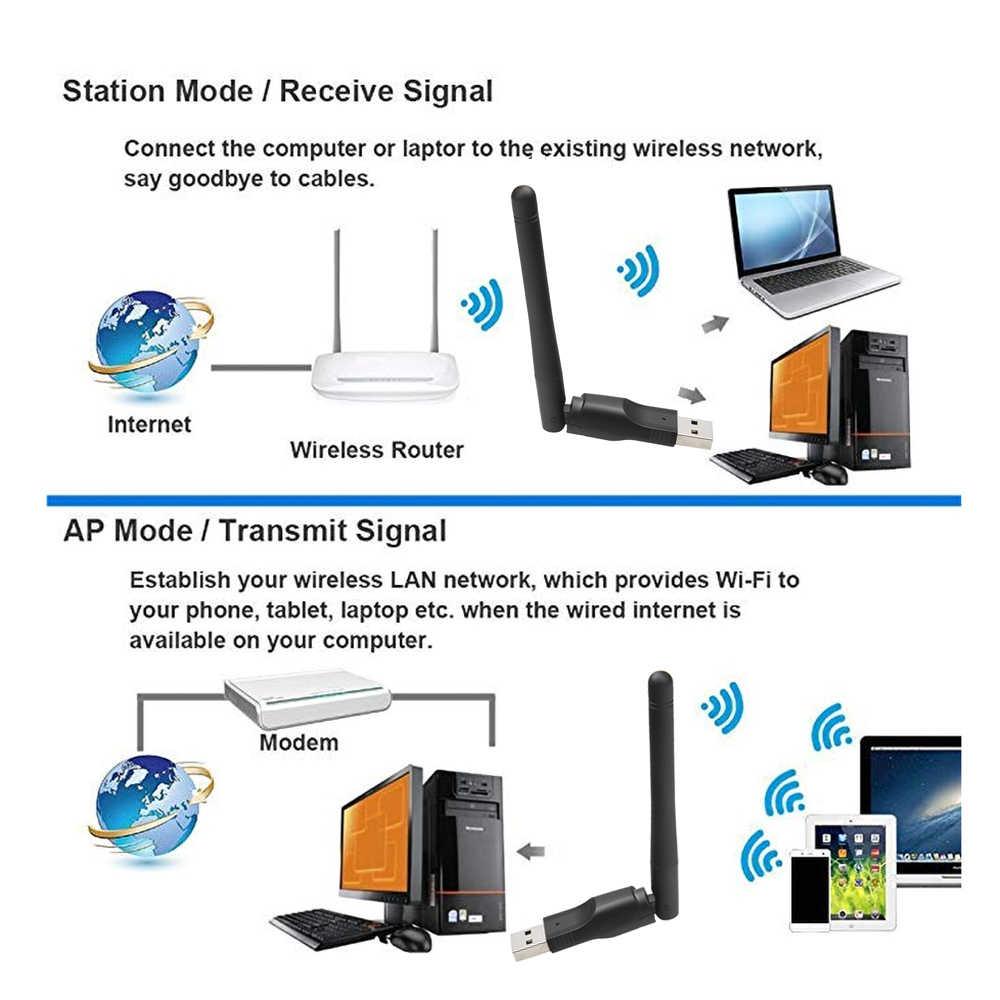 Kebidu 150 mbps wifi placa de rede sem fio usb 2.0 2.4 ghz adaptador com antena chipset ralink MT-7601 para computador portátil atacado