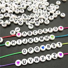 Lote de 100 unidades de cuentas espaciadoras de acrílico de 4x7mm, abalorios de alfabeto ovalado para Cuentas de letras, fabricación de joyas, accesorios hechos a mano