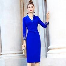 Notched Professionele Kralen Jurk 2021 Superieure Kwaliteit Herfst Lente Mode Vrouwen Kleding Slim Office Lady Jurken