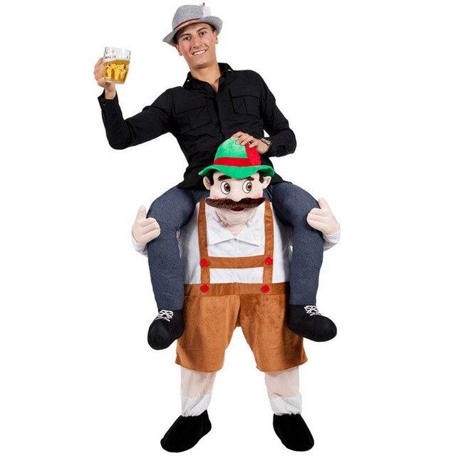 ผู้ใหญ่Oktoberfest Mascot Disfrazเครื่องแต่งกายคนเดินตลกแฟนซีUP RIDE ON MEที่แนบมาเท็จมนุษย์ขาคริสต์มาสคอสเพลย์