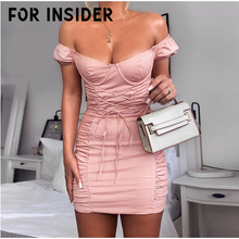 For Insider Lace up bandage pink bodycon dress Women white off shoulder party Autumn winter club elegant christmas