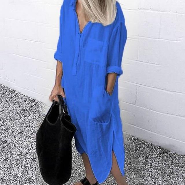 2021 Lady Elegant Long Shirt Dress Fashion Spring/Autumn Long Sleeve Casual Simple Pure Color S-4XL Women Dress 1