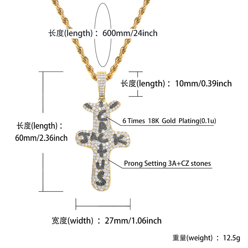 KMASAL 18k Gold Plated Lab Diamond Necklace Iced Out Cactus Jack Pendent Hip Hop Chain for Men Women