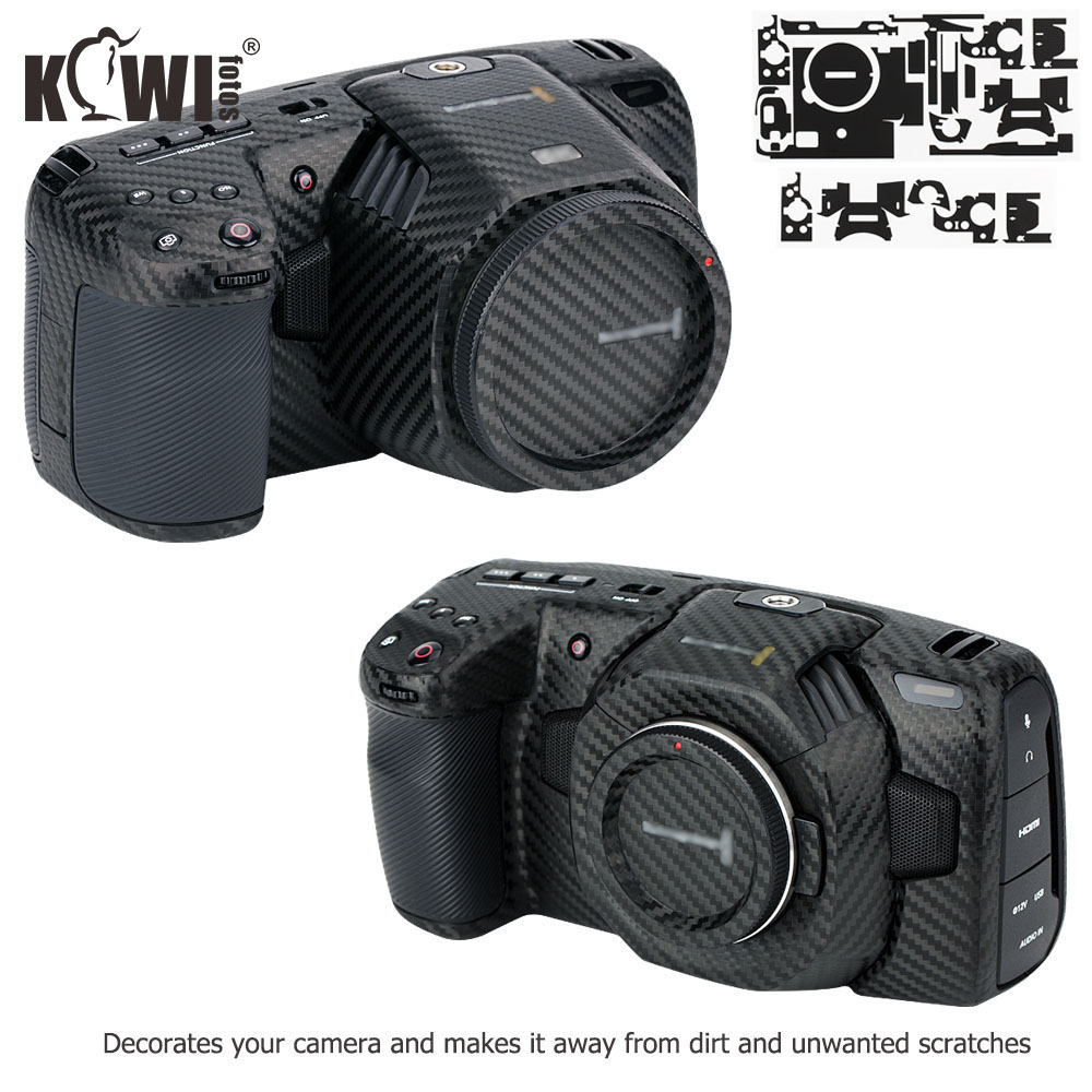 Anti-Scratch Camera Body Skin Film For Blackmagic Design Pocket Cinema Camera 4K 6K (BMPCC 4K 6K) 3M Sticker Carbon Fiber Black