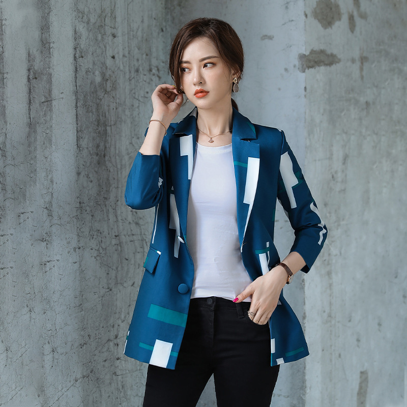 Temperament Slim Lady Jacket Large Size Stylish And Elegant Printed Long-sleeved High-quality Printed Blazer Female Office Top