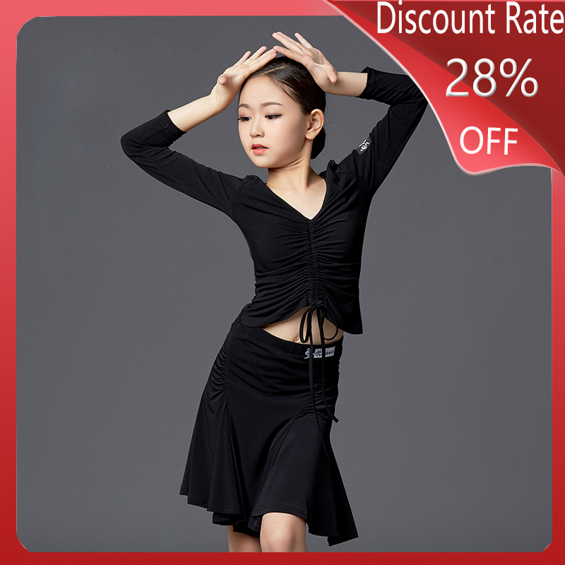 2020 Autumn Latin Dance Costumes Girls Practice Clothes Children Latin Dance Skirt Tops Suit Competition Dance Dresses DQS3648