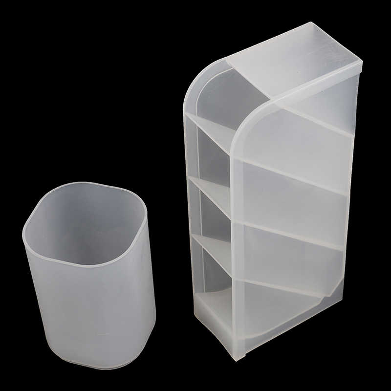 Multi-function 4 Grid Clear White Plastic Box Desk Pen Pencil Organizer Desktop Pen Holder Office School Storage Case