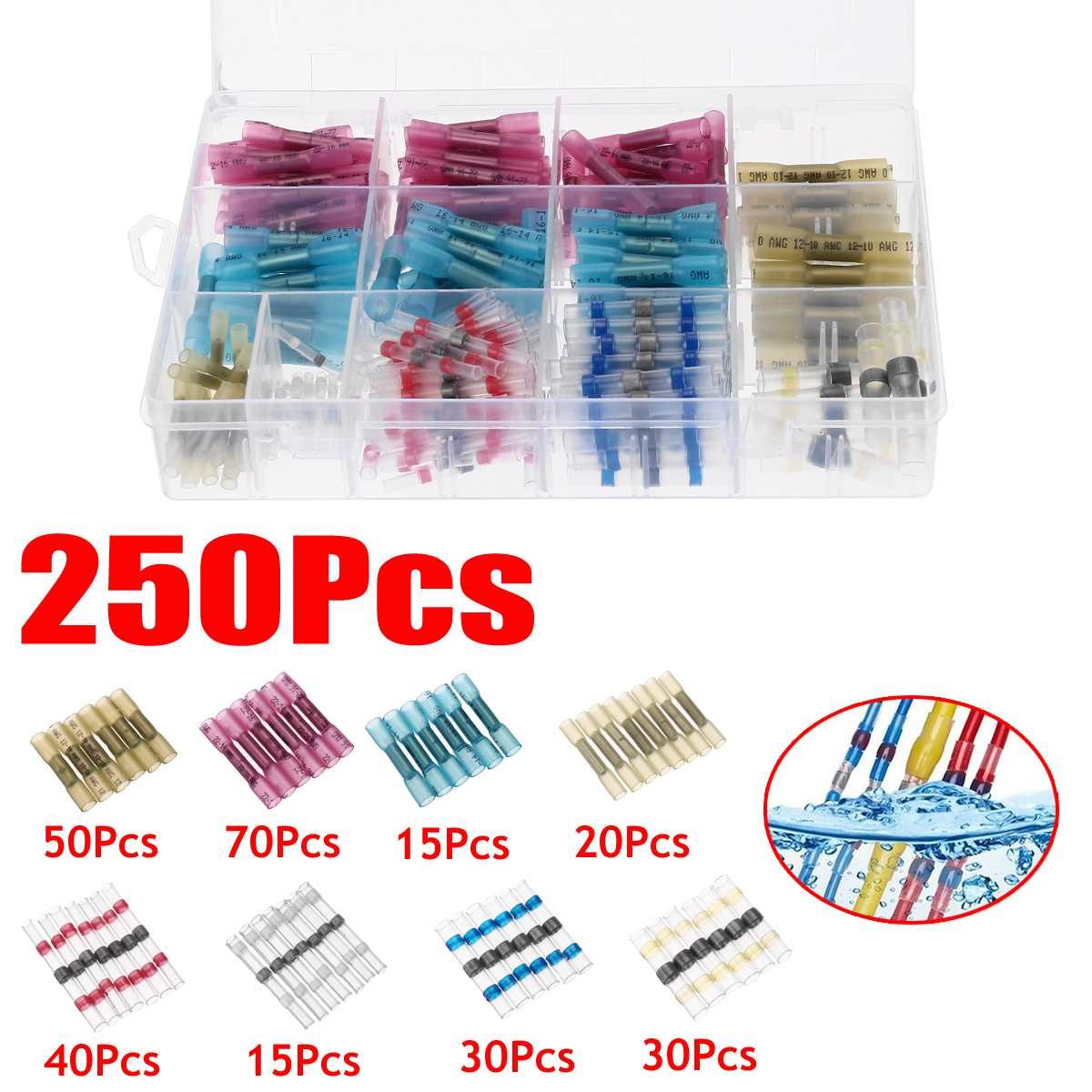 250 Pcs Heat Shrink Tubing Insulation Shrinkable Tubes 2:1 Electrical Wire Cable Wrap Assortment Electric Insulation Sleeve Kit
