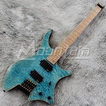 Montanha 6 cordas da guitarra sem cabeça guitarra elétrica traste abanou alder corpo de bordo acolchoado assado pescoço frete grátis