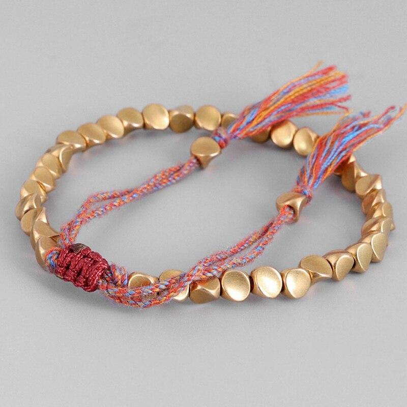 Тибетские буддийские плетеные хлопковые медные бусы ручной работы, счастливая веревка, браслет и браслеты для женщин и мужчин, браслеты с н...