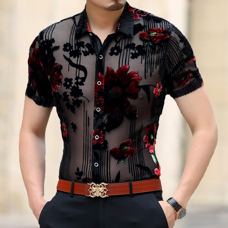 Mannen Kleding 2020 Spring Short Sleeve Slim Fit Sexy Transparent Shirt Men Flower Print Velvet Shirt Club Party Chemise Homme