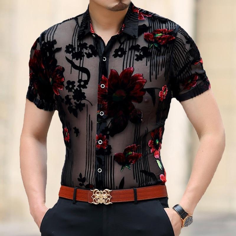 Mannen Kleding 2020 Spring Short Sleeve Slim Fit Sexy Transparent Shirt Men Flower Print Velvet Shirt Club Party Chemise Homme