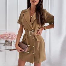 Letnia sukieneczka z guzikami elegancka sukienka z obniżonym kołnierzem urząd Lady Blazer sukienka moda damska z krótkim rękawem Mini sukienka Vestido tanie tanio ELSVIOS A-LINE CN (pochodzenie) Lato Wykładany kołnierzyk REGULAR szarfy Pani urząd Powyżej kolana mini COTTON POLIESTER