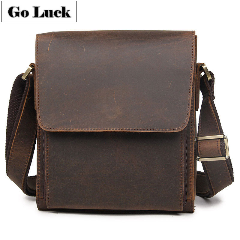 GO-LUCK Brand Crazy Horse Genuine Leather Messenger Bags Men's Cross Body Shoulder Bag Male Cowhide Casual Travel Ipad Pack