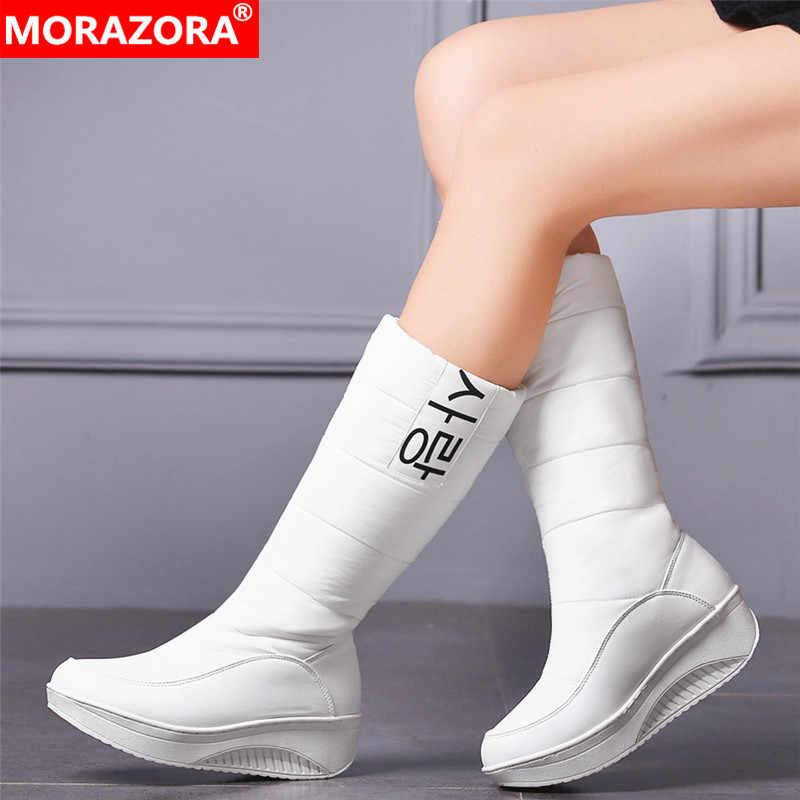 Morazora 3 Kleuren Down Snowboots Vrouwen Schoenen Zuid-korea Stijl Platform Laarzen Wiggen Mid Kuit Laarzen Vrouwelijke Pluche Winter laarzen