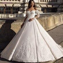 جوليا كوي رائع قبالة الكتف ثوب الزفاف الكرة مع ثوب زفاف أنيق الدانتيل حساسة