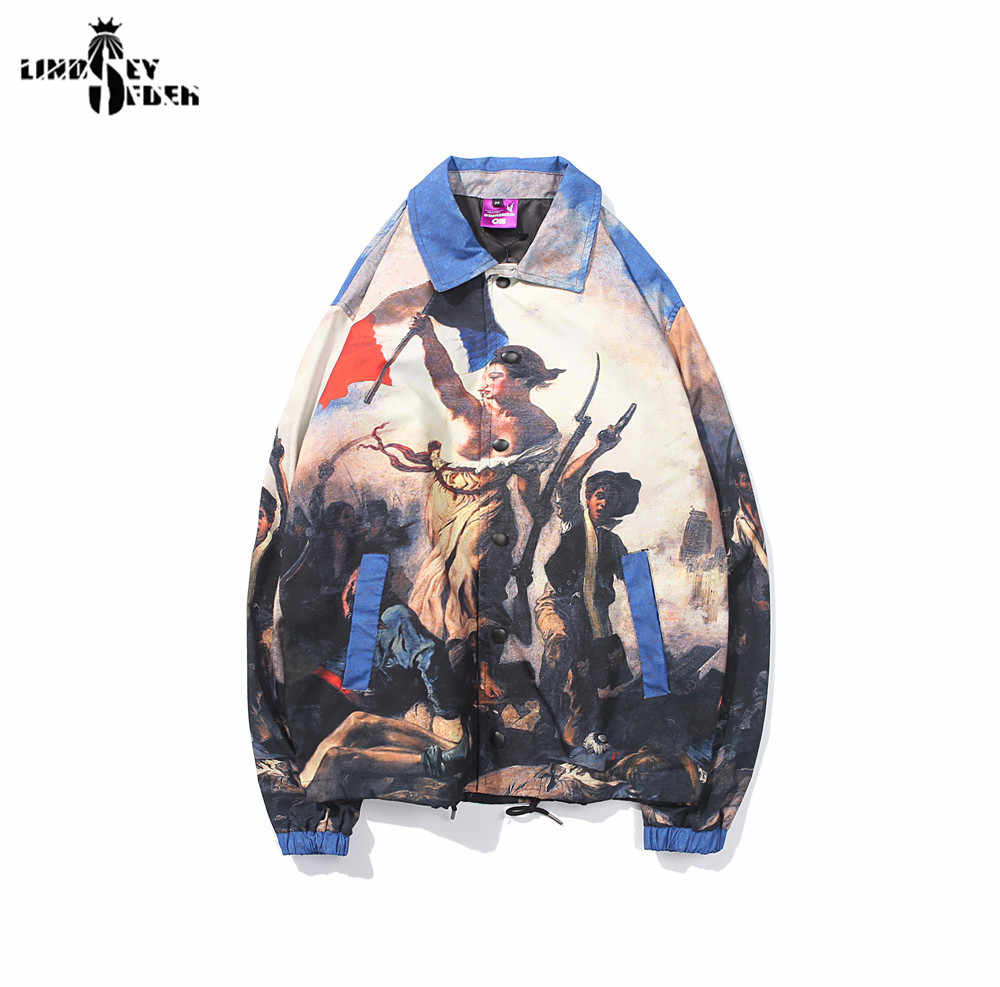גברים של מעיל רוח רנסנס שמן ציור עירום נשים מעילי Hiden רוכסן אימונית מעיל להאריך ימים יותר