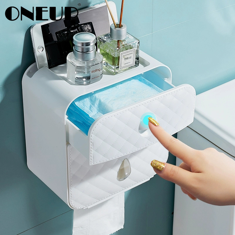 ONEUP Portable Double Toilet Paper Waterproof Storage Box For Toilet Wall Mounted Roll Paper Dispenser Bathroom Accessories