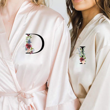 Wedding Satin Dressing Gown Personalized Custom Name Flower Print Bride Team Robes Bridal Party Robes Bridesmaid Robes gift cheap CN(Origin) Faux Silk Spring Letter WOMEN Above Knee Mini OP089 half