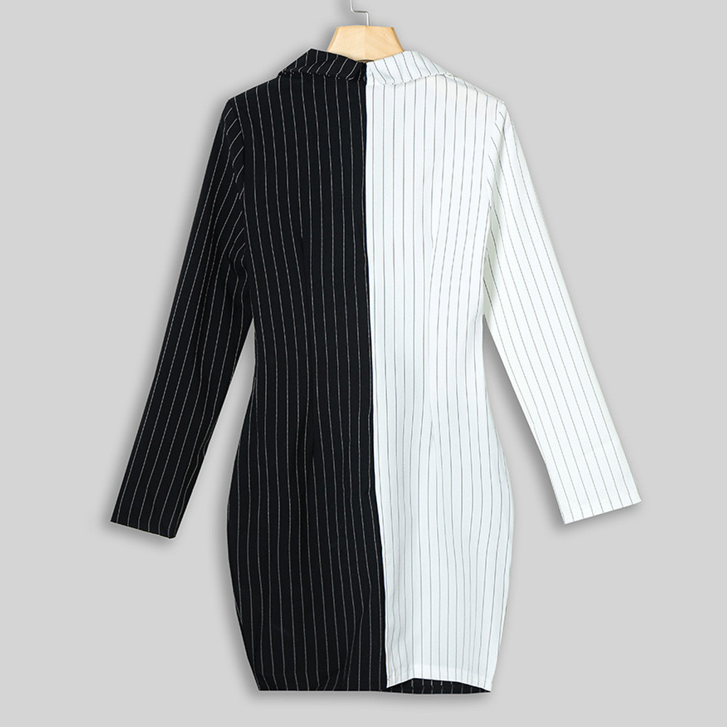 Dresses For Women Turn Down Neck Long Sleeve Buttons Striped Patchwork Blazer Dress