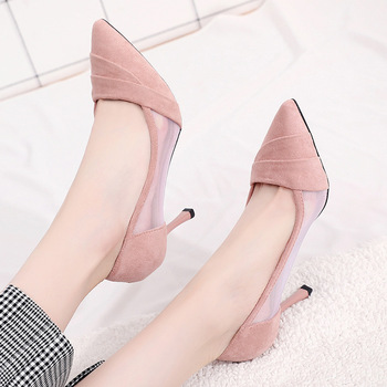 Women's high heel stiletto mesh sandals 2019 summer new Korean version of the wild sexy pointed suede mesh breathable hollow