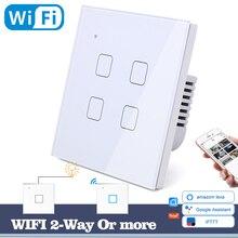 Interruptor de luz de toque wifi, interruptor de parede vidro branco azul led universal controle de telefone inteligente 4 gang 2 way quadrado alexa google home