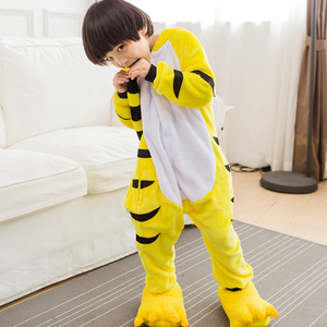 Image 1 - Adult Yellow Stripe Cartoon Kigurumi Cosplay Costume Kid Winter Animal Jumpsuit Boy Anime Flannel Onesie Pajamas Sleepwear Girl