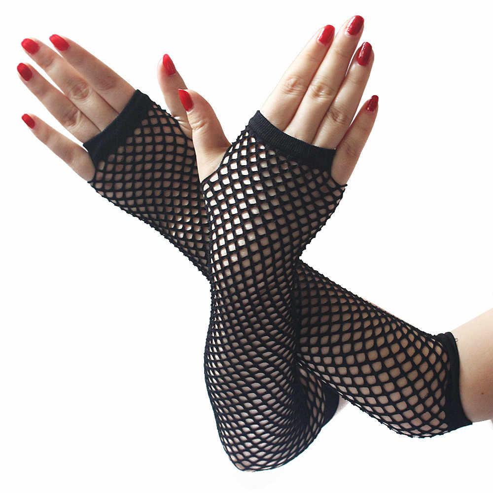 Nữ Neon Sexy Dài Fingerless Fishnet Ren Độ Đàn Hồi Cao Găng Tay Đàn Hồi Găng Tay guantes eldiven handschoenen Găng Tay