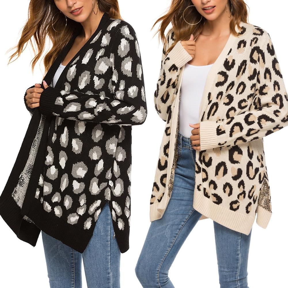 Coats Jacket Sweater Cardigan Knitted-Tops Female Autumn Winter Long Split Loose Women