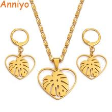 Anniyo Heart Plantain Leaves Necklaces Earrings Jewellery sets Gold Color Kiriba