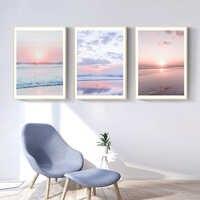Paisaje marino de puesta de sol Arte de la pared de la lona de Bali ola de Playa cartel de vista e impresión pintura con imagen de decoración para la sala de estar decoración del hogar Nórdico