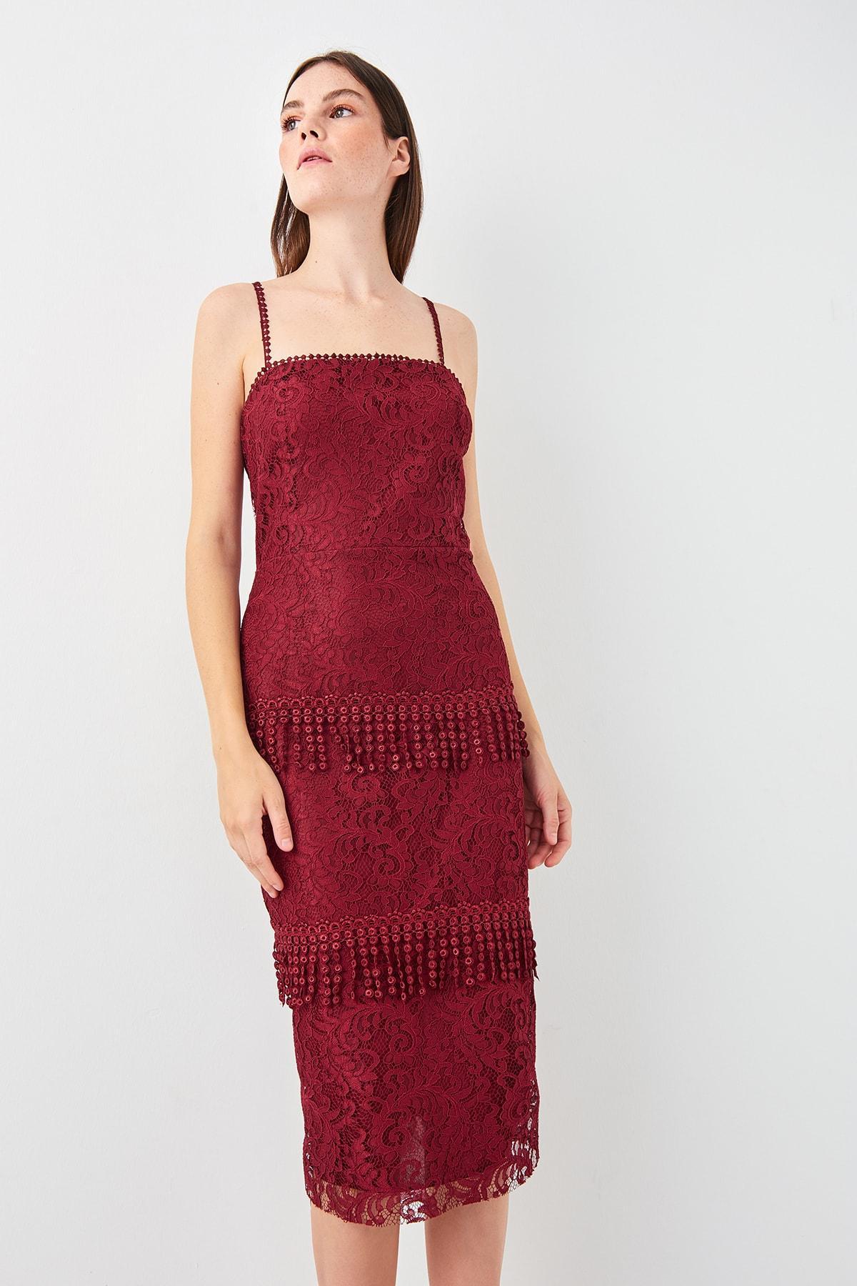 Trendyol Burgundy Tassel Detail Lace Dress TPRSS19EL0341()