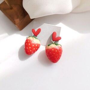Sweet Japanese and Korean Earrings lovely girl heart strawberry Earrings elegant temperament White Earrings 1991